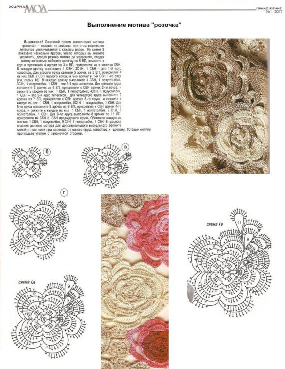 розы крючком схемы вязания ирландское кружево.