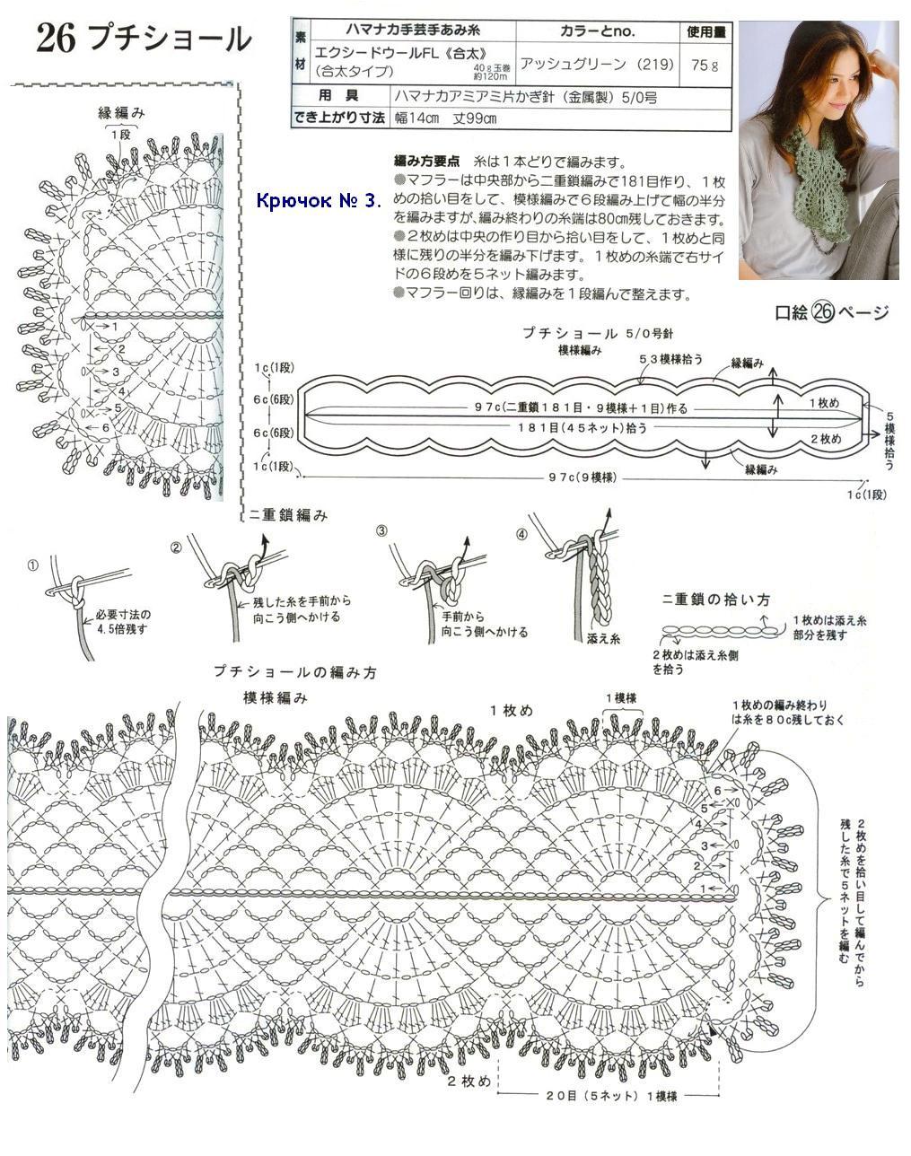 Шарф ажурный крючком схема 11 фотография