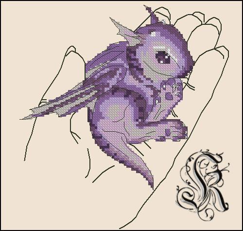 Gallery.ru / Дракончик на ладони (схема отшита) - Бесплатные схемы - kaymera.