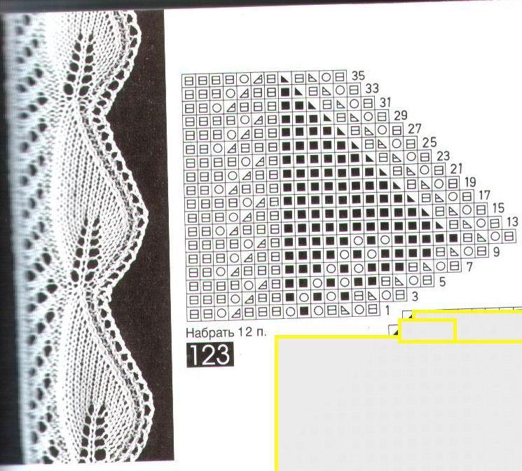 Вязание спицами ажурной каймы схема и описание 12