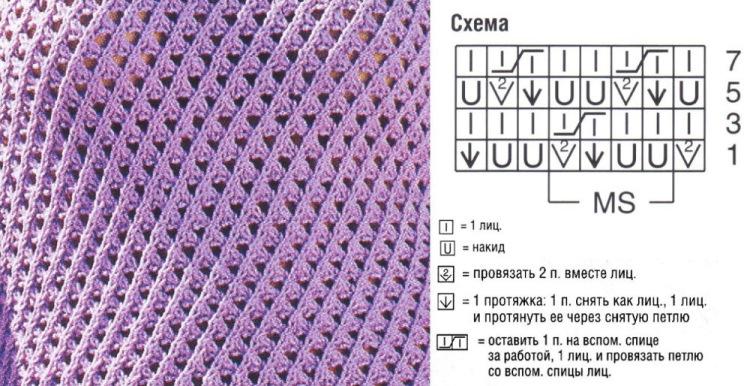 Простые узоры для начинающих вязание спицами 25