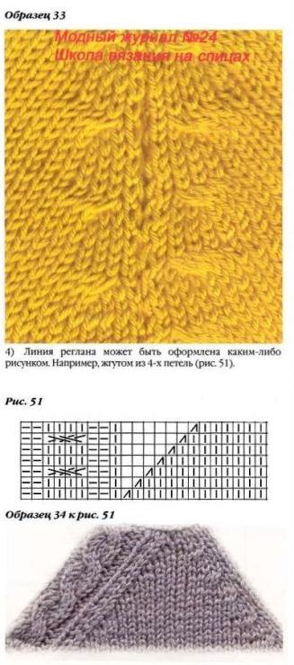 Узоры для вязания регланной линии 65