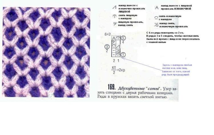 Вязание. схемы вязания соты 105