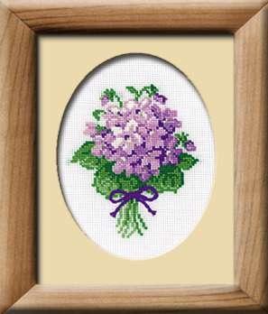Набор для вышивания Фиалки, Риолис 240 купить в санкт петербурге Шале, Aida 16 (К6), Счетный крест.