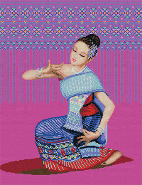Набор для вышивания Тайский народный танец, Pinn TD-05 купить в санкт петербурге Шале, Aida 14, Счетный крест.