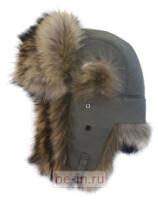 Шапка-ушанка мужская серая с мехом енота. , где купить: Leform, , Аксессуары, Головные уборы.