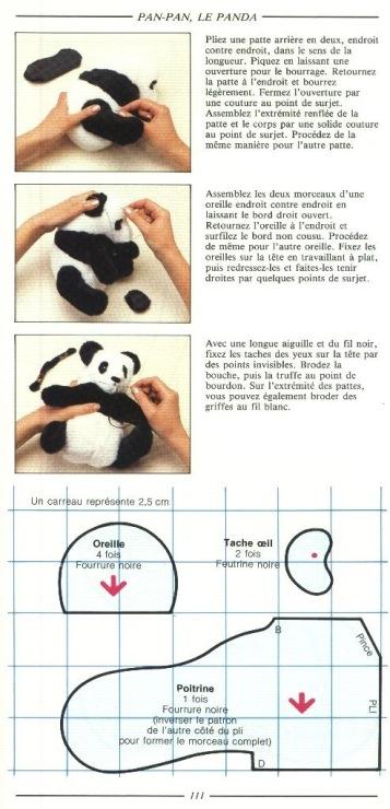 Выкройка панды своими руками