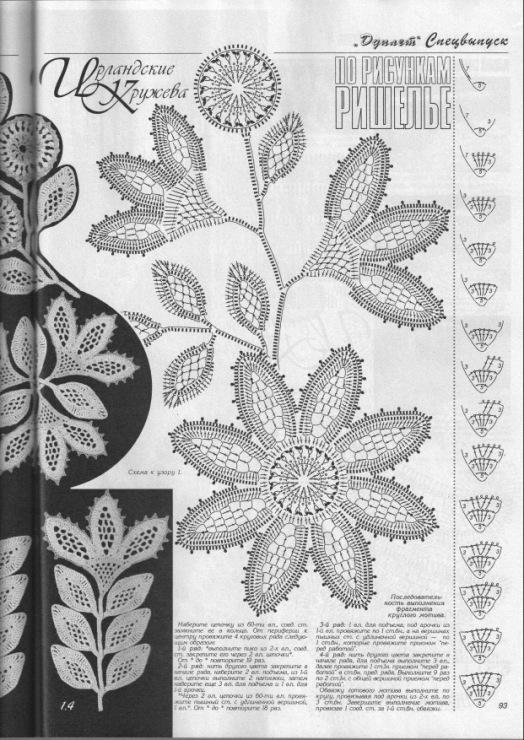 Ирландское кружево схемы мотивы листьев