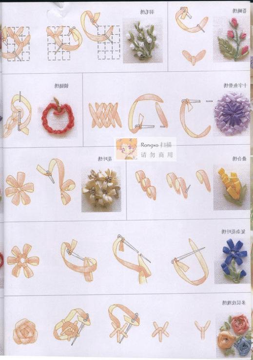 Цветы из ленточек по схемам