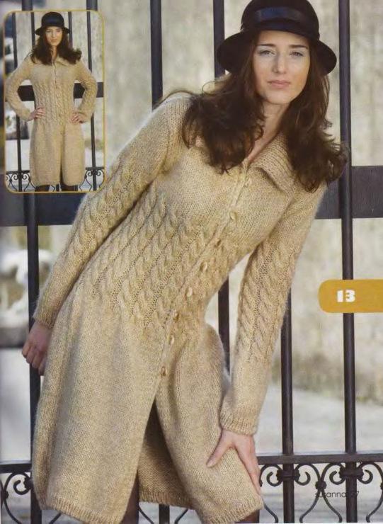 Вязаное пальто спицами фото